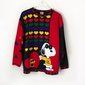 Vintage Snoopy & Friends knit valentine sweater
